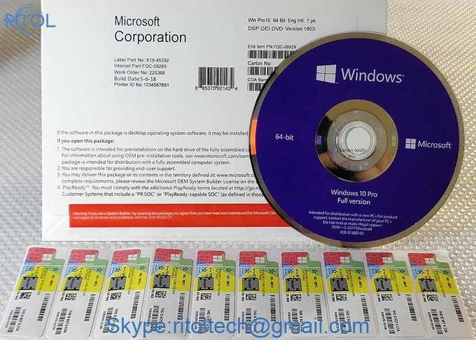 Muliti Language PC System Software Microsoft Windows 10 Pro 32 / 64 Bit System Builder OEM